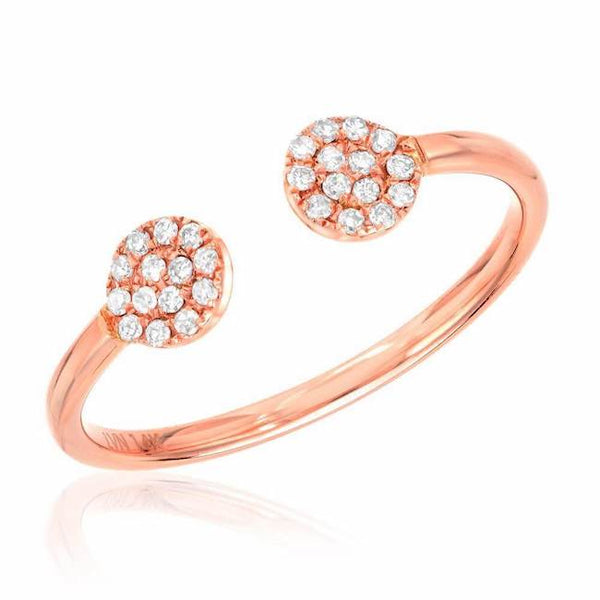 Double round pave ring in rose gold with diamonds