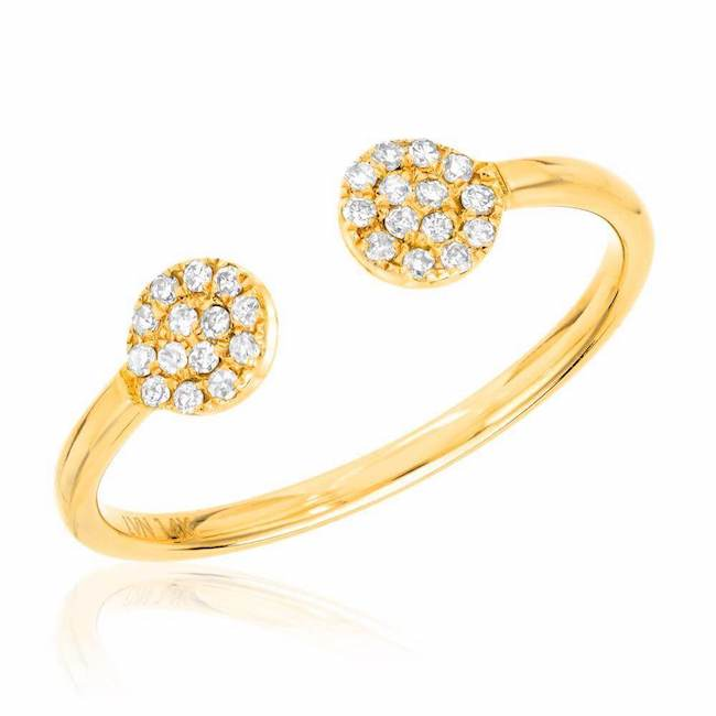 Double round pave ring in yellow gold with diamonds