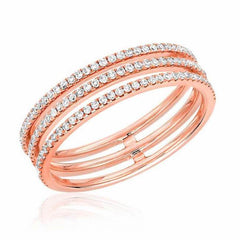 triple row ring with diamonds in rose gold