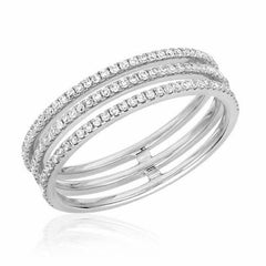 triple row ring with diamonds in white gold