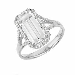 Emerald Cut Split Shank White Topaz ring