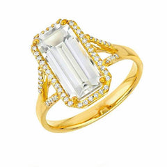 Emerald cut white topaz ring in yellow gold