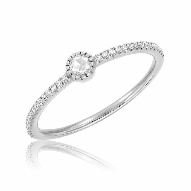 single rose cut diamond on halfway band in white gold