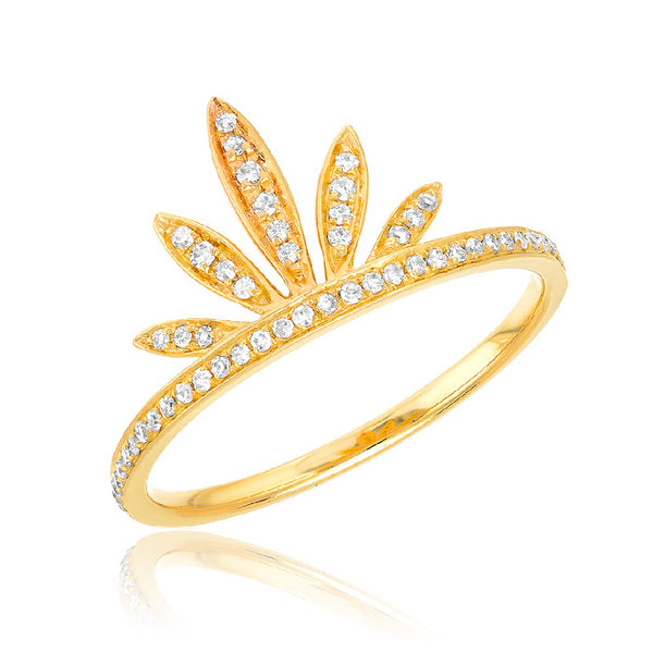 sunrise ring with diamonds in yellow gold