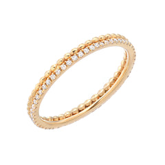 eternity micropave diamond band with handmade beaded edge