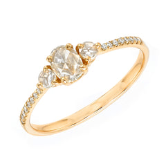 Heirloom rose cut oval and round three diamond band