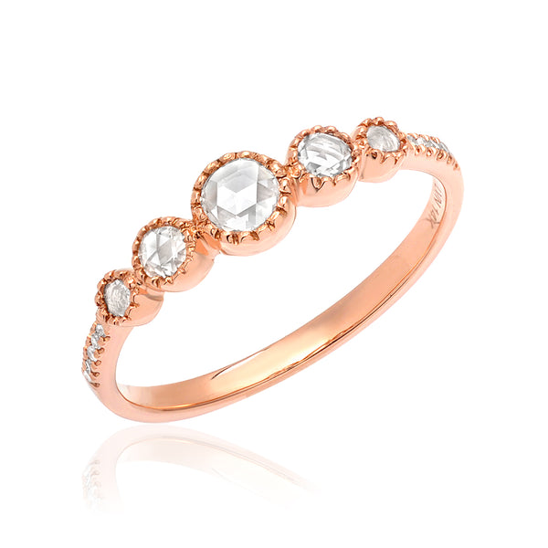 Diamond halfway band with five rose cut diamonds in rose gold