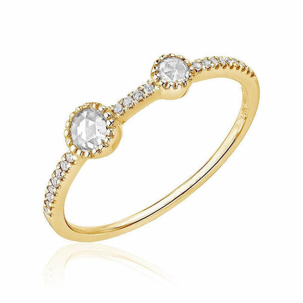double asymmetrical rose cut diamond halfway band in yellow gold