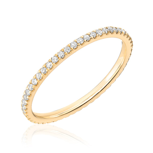 pave eternity band in yellow gold