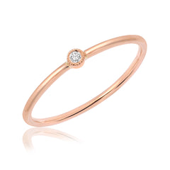 Single Petite Bezel Set Diamond Band in rose gold