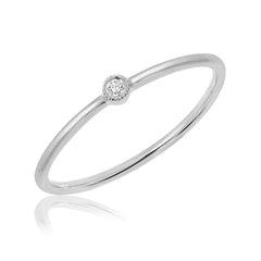 Single Petite Bezel Set Diamond Band in white gold