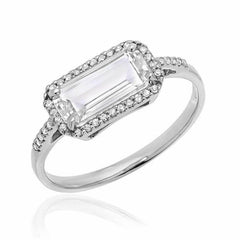 east west emerald cut white topaz ring in white gold