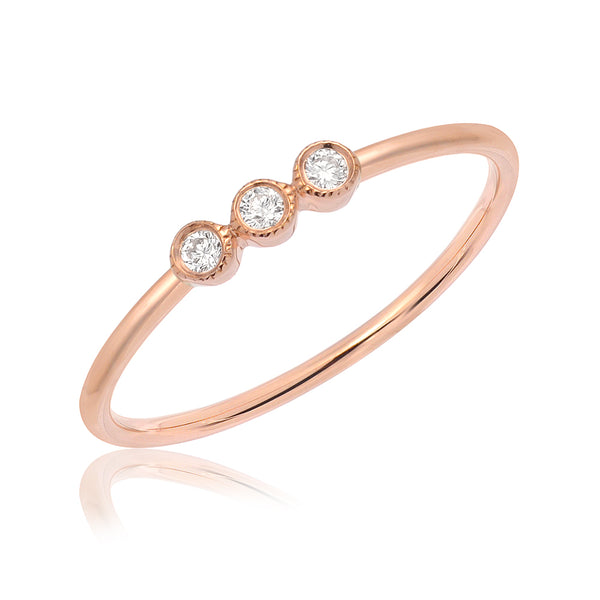triple petite bezel set diamond band in rose gold