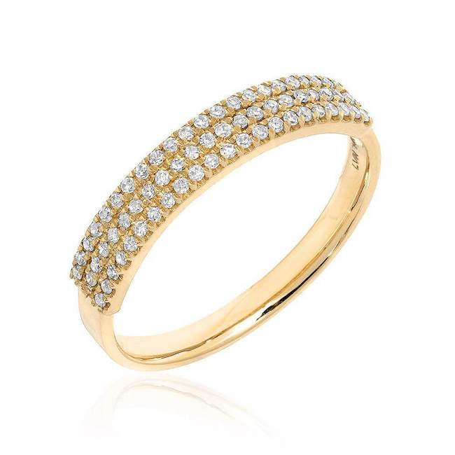 three row diamond band in yellow gold