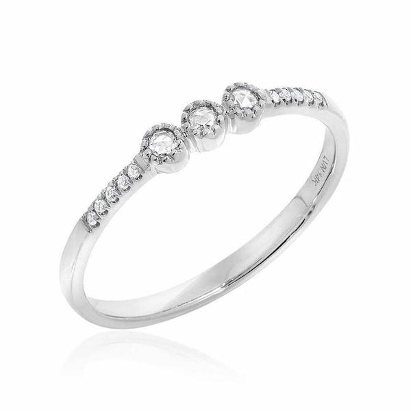 White Gold Diamond Band With Triple Rose Cut Center