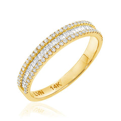 Heirloom baguette and round diamond halfway band