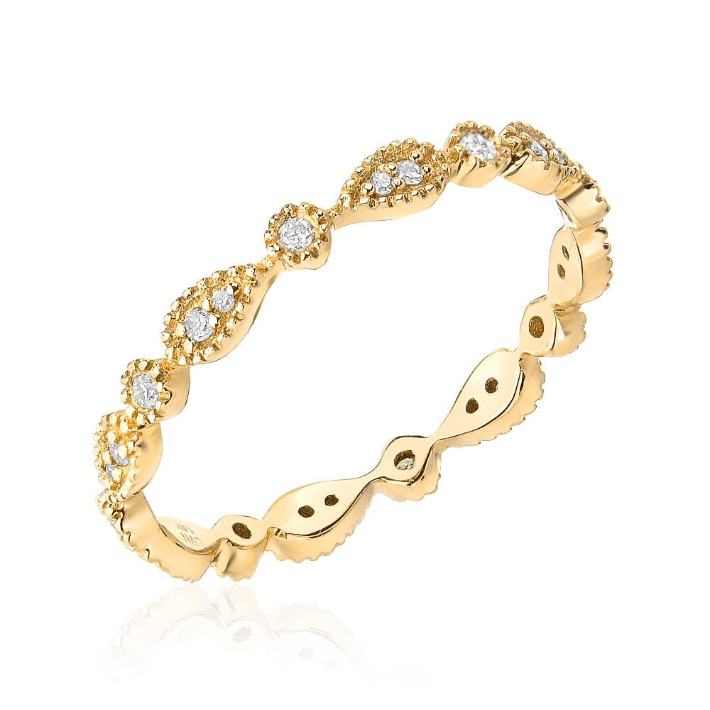 pear milgrain eternity band in yellow gold