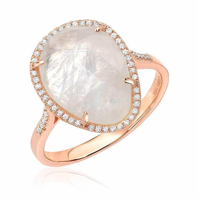 organic shape rainbow moonstone ring in rose gold