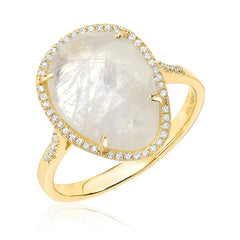 Organic shaped rainbow moonstone ring in diamond halo