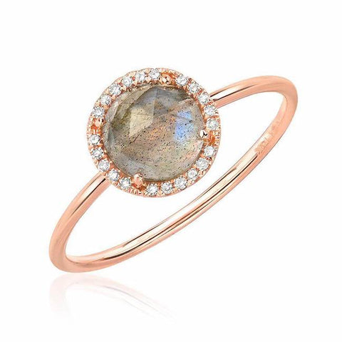 Rosie 6.0mm Labradorite and Diamond Ring