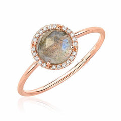 rosie 7.0mm labradorite and diamond ring in rose gold