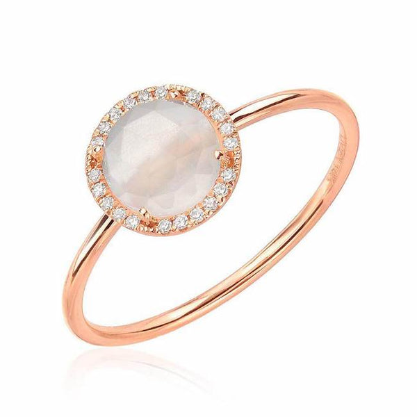 rosie 7.0mm rainbow moonstone and diamond ring in rose gold