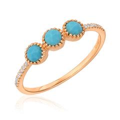 triple rose cut turquoise band with diamonds in rose gold