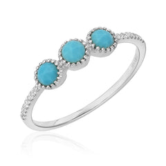 triple rose cut turquoise band with diamonds in white gold