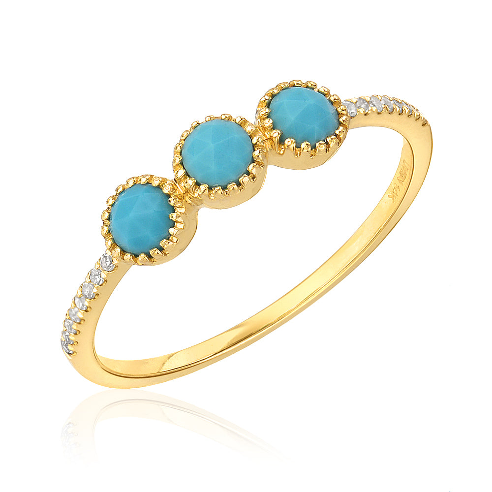 triple rose cut turquoise band with diamonds in yellow gold