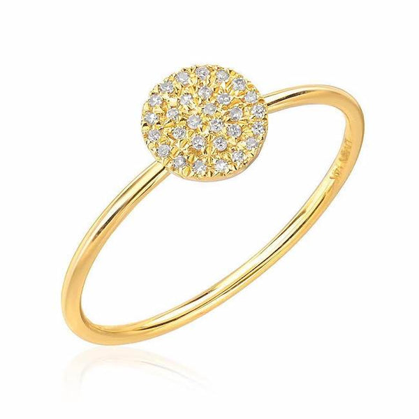 pave disc ring in yellow gold