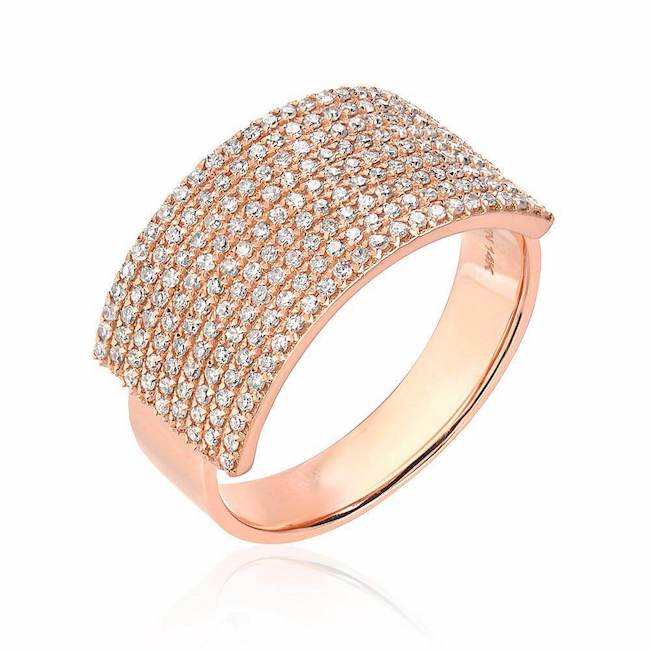 extra wide diamond band in rose gold