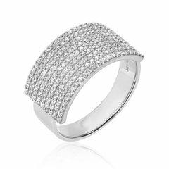 extra wide diamond band in white gold