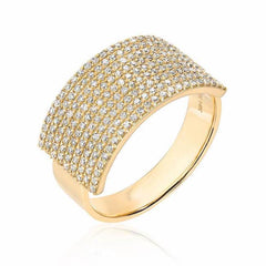 extra wide diamond band in yellow gold