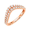 double row curved v band in 14k rose gold