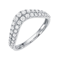 curved wedding band with two rows of graduated size diamonds