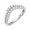 double row curved v band in 14k white gold