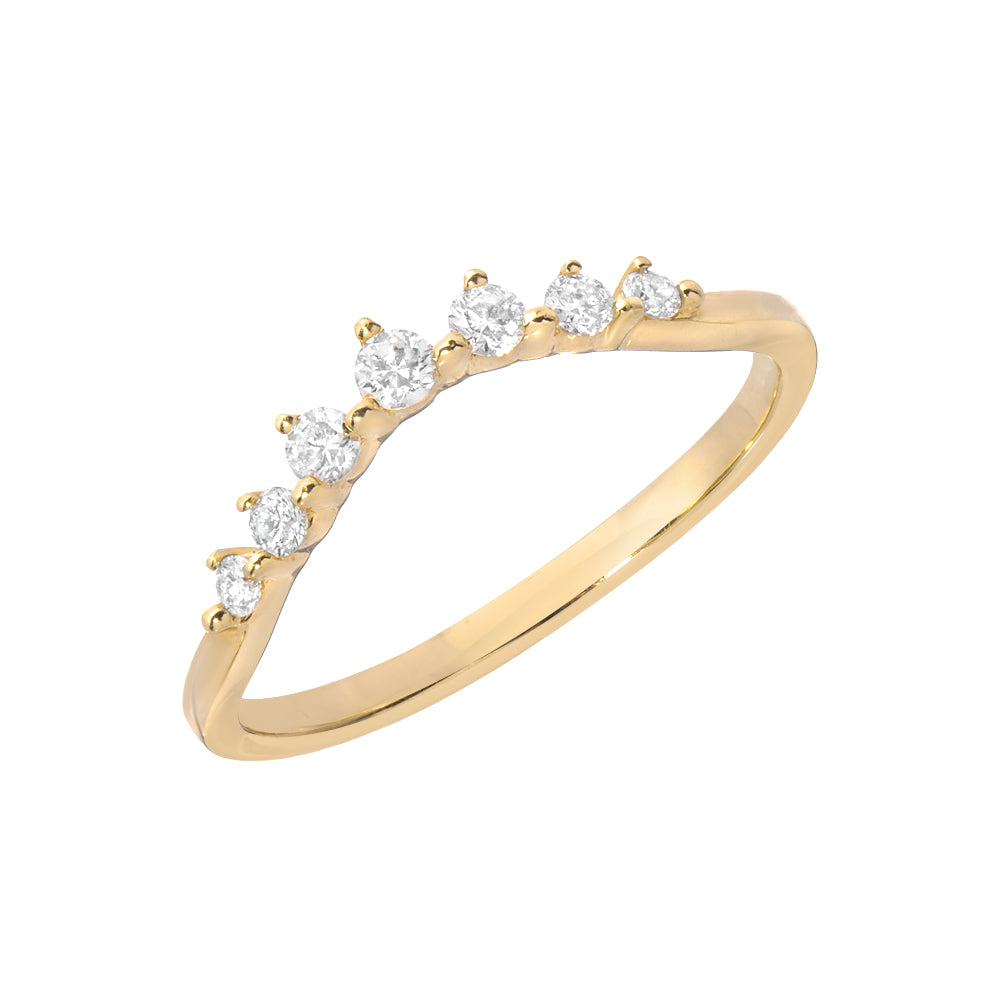 seven stone arched curve band in 14k gold and diamonds