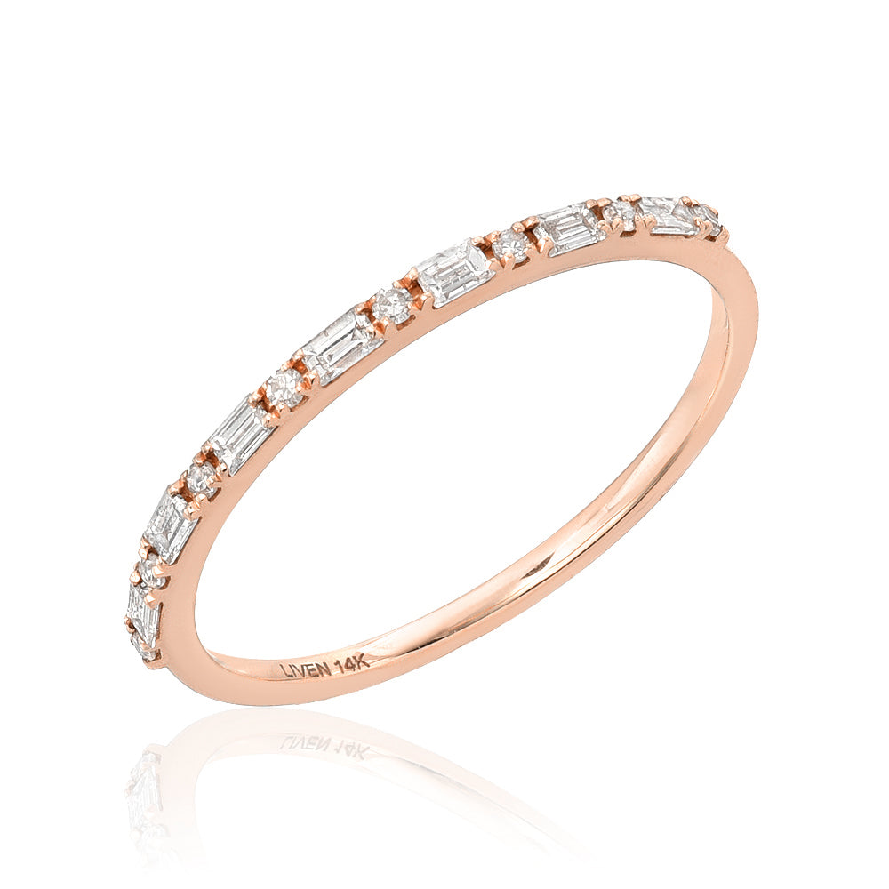 baguette band in rose gold