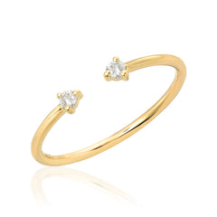 Souli open ring in 14k gold with diamonds