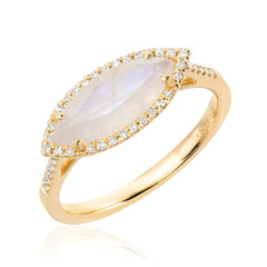 marquise colored stone band with diamonds