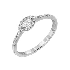 Marquise Halo Halfway Band in 14k white gold