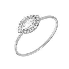 rose cut marquise diamond halo band in 14k white gold