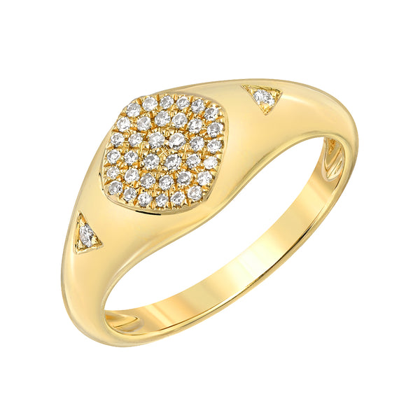 pave signet ring in 14k yellow gold
