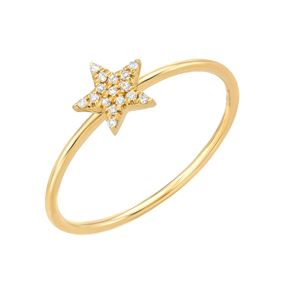 star pave diamond ring in 14k yellow gold