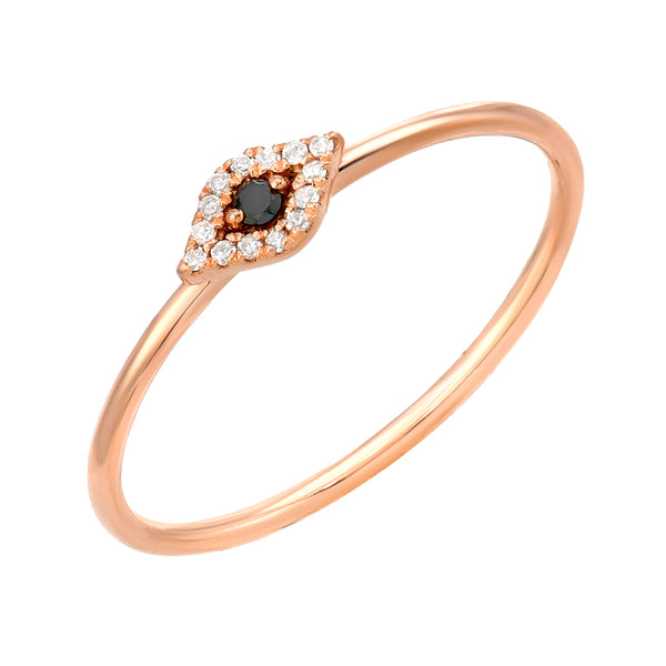 14k rose gold evil eye ring with black and white diamonds