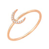 crescent moon diamond ring in 14k rose gold
