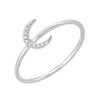 crescent moon diamond ring in 14k white gold