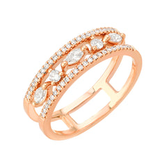heirloom ultimate bridal band in 14k rose gold with diamonds