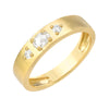 brushed cigar band in 14k yellow gold with diamonds