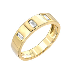 triple baguette diamond cigar band in 14k yellow gold